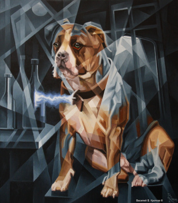 Vasily Krotkov. The electric dog. Post-Cubo Futurism