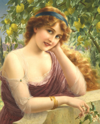 Emile Vernon. Beauty at the lemon tree. 1913