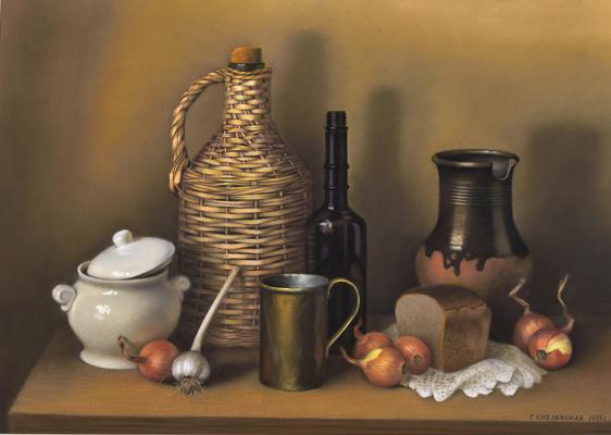 Galina Petrovna Khmelevskaya. Still life with wicker bottle