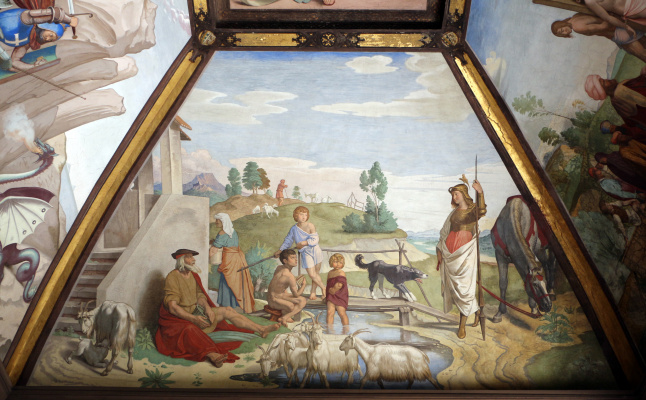 Johann Friedrich Overbeck. The frescoes of the villa Massimo, Tasso Hall: Herminia with the shepherds