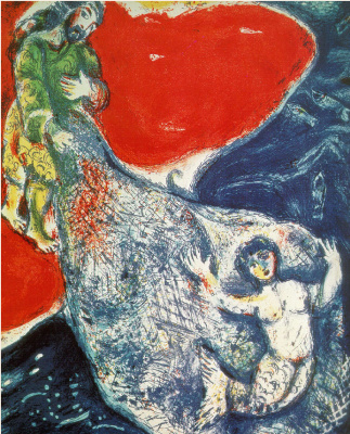 "Marc Chagall. Illustration for the book ""a Thousand and one nights"". Abdullah on the Bank network"