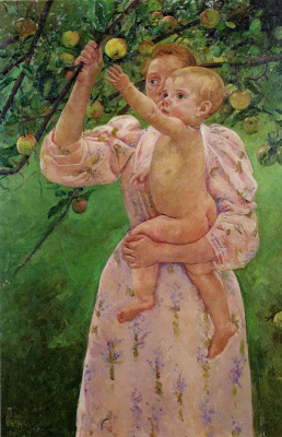 Mary Cassatt. The child plucks the fruit