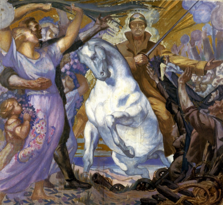 "Jean Delville. The rider of victory. Sketch of the mosaic ""Victory"""