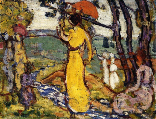 Maurice Braziel Prendergast. Woman in yellow in the Park