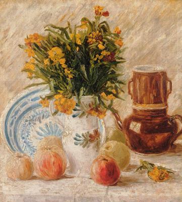 Vase with flowers, coffee pot and fruit