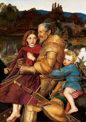 John Everett Millais. Dreams of the past: sir Isumbras crosses the river Ford. Fragment