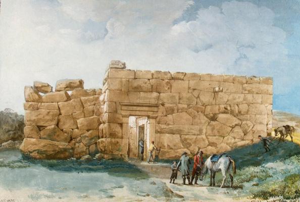 Жан-Пьер-Лоран Уэль. Древний дворец на горе близ Чефалу