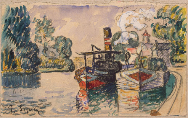 Paul Signac. Tugboat and barge in Samois