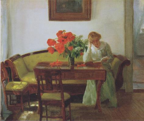 Анна Анкер. Инерьер с маками и читающей женщиной