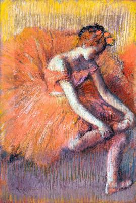 Эдгар Дега. Балерина, поправляющая обувь