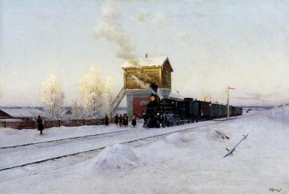 Vladimir Kazantsev. At the station. Winter morning at the Ural railway