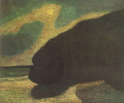 Albert Pinkem Ryder. Sea shore in moonlight