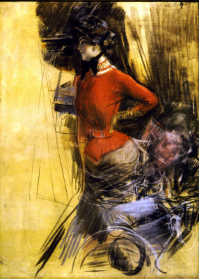 Giovanni Boldini. Woman in a red blouse