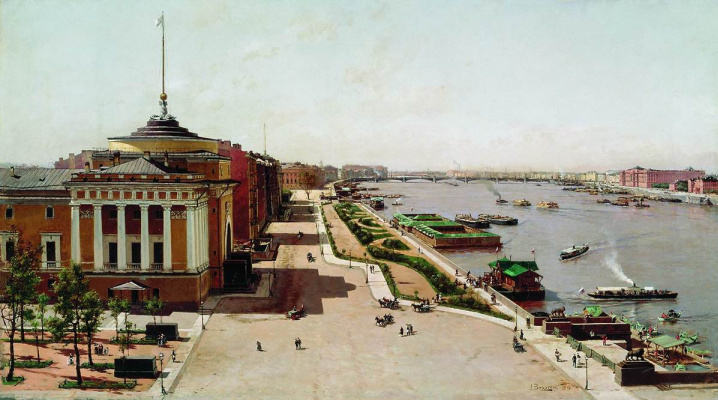 Александр Карлович Беггров. Вид на Неву от Зимнего дворца. 1881