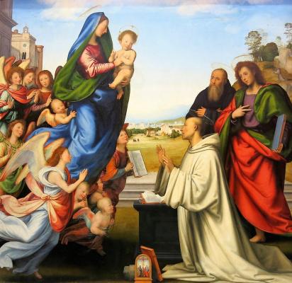 Фра Бартоломео. Vision of St. Bernard with Saints Benedict and John the Evangelist