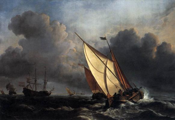 Виллем ван де Вельде Младший. Корабли в бурном море