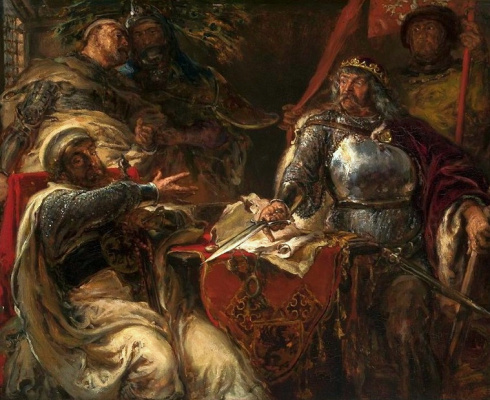 Jan Matejko. King Ladislaus breaks agreement with Teutonic knights in Brzesli Kujawski
