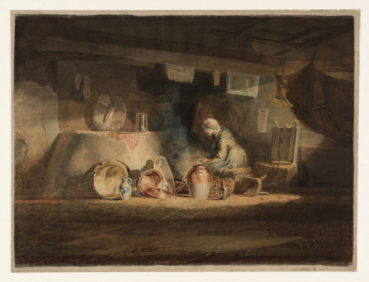 The old woman in the kitchen in the cottage