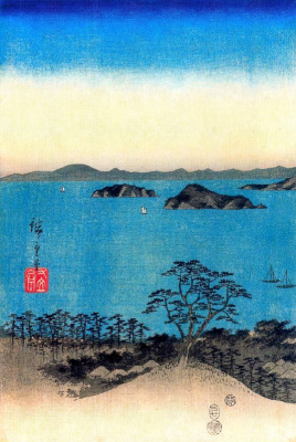 Utagawa Hiroshige. Evening view of the full moon, which will appear along the coastline in the province of Musashi Kanazawa