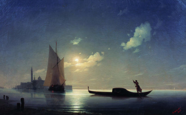Ivan Aivazovsky. Gondolier at sea by night
