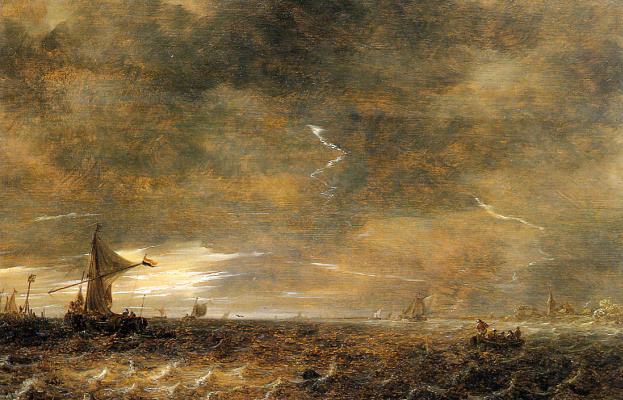 Jan van Goyen. Sailing boats in a storm near Haarlem