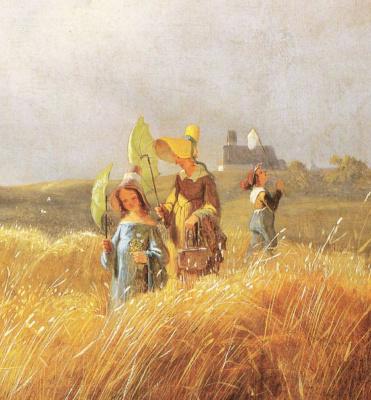 Karl Spitzweg. Sunday walk. Fragment. Governess with children