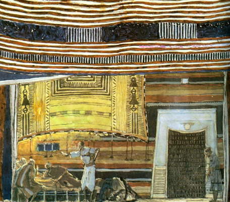 """Alexander Yakovlevich Golovin. Room in the house of a rich man. Sketch of scenery for the play by L. N. Tolstoy's """"Peter khlebnik"""""""
