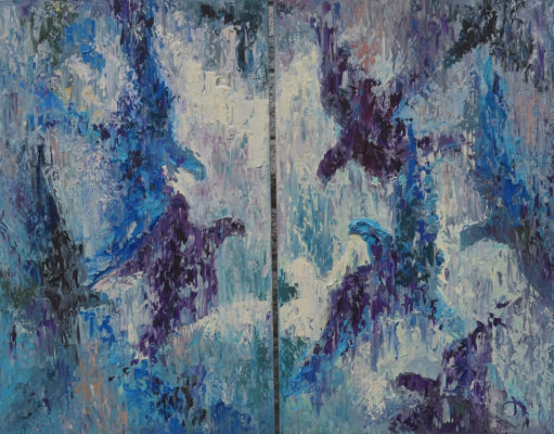 "Tanya Vasilenko. ""Birds"", diptych, oil on canvas. Birds diptych. Oil on canvas."
