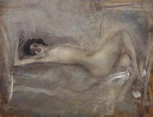 Giovanni Boldini. Symphony on gray (Reclining nude on gray)