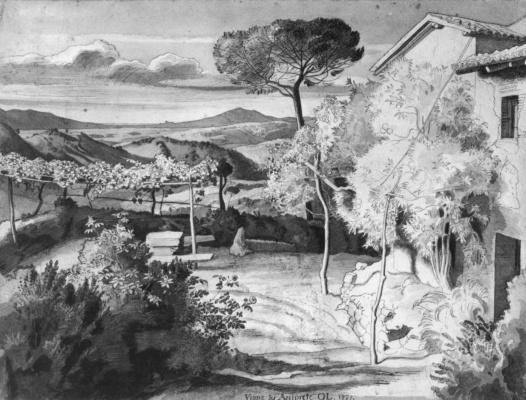 Julius Schnorr von Karolsfeld. Vina will Arciprete in Olevano with mountain views