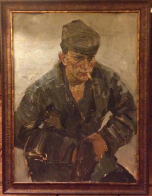 """Сергей Дмитриевич Кожаев. """"Рабочий с сигаретой"""",1970-е гг., к./м., 74х53.5"""