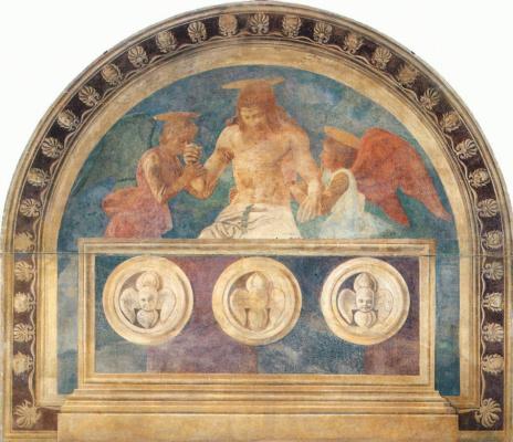 Андреа дель Кастаньо. Христос в гробу с двумя ангелами