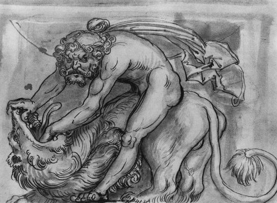 Lucas Cranach the Elder. Samson fighting with the lion (sketch)