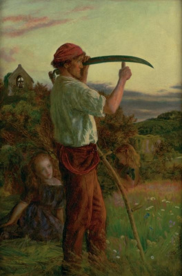 Arthur Hughes. Mower with his daughter
