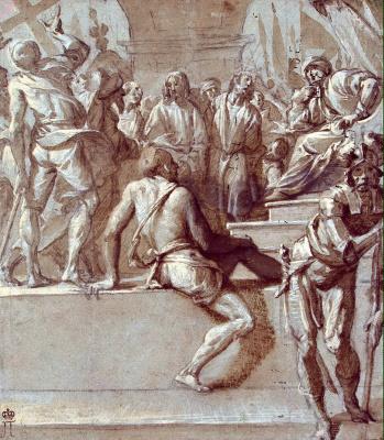 Пьер Франческо Маццуккелли. Пилат показывает народу Иисуса Христа и Варавву
