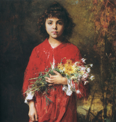 Alexey Alekseevich Kharlamov. Portrait of a girl with a bouquet of flowers.