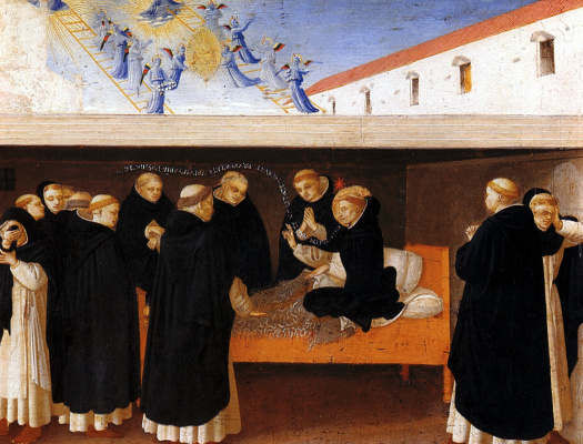 "Fra Beato Angelico. Dormition of St. Dominic. Preamble of the altar of San Domenico ""Coronation of the Virgin"""