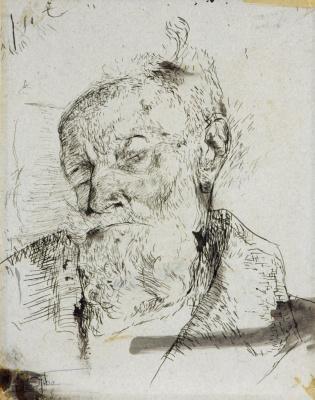 Шарлотта Саломон. Портрет умирающего Людвига Грюнвальда, деда Шарлотты Саломон