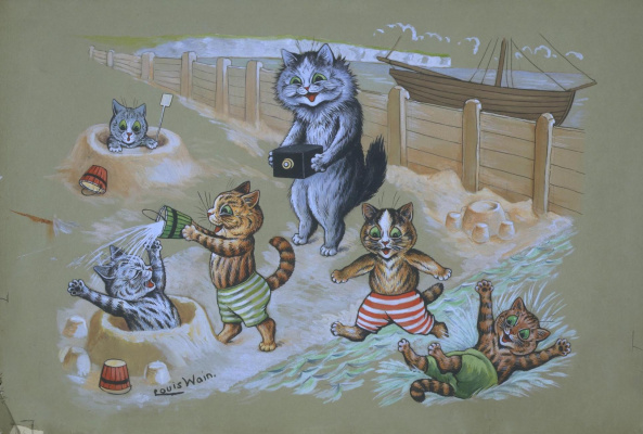 Louis Wain. Fun on the beach