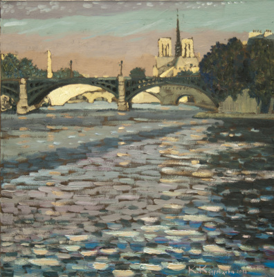 Ekaterina Anatolyevna Kudryavtseva. Paris. View of the bridges of the île Saint-Louis 70x70 H. M. 2013