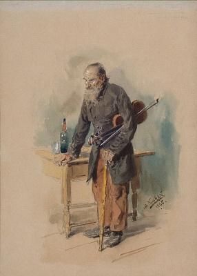 Vladimir Egorovich Makovsky. Stray violinist