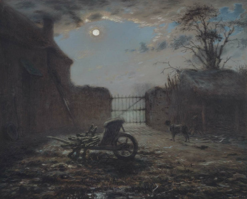 Jean-François Millet. Peasant yard in the moonlight