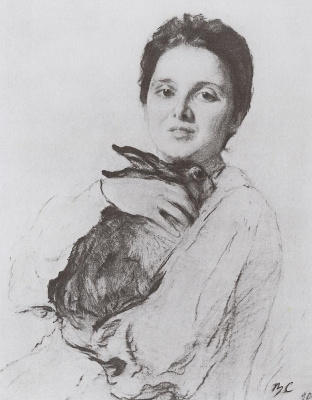Valentin Aleksandrovich Serov. Portrait of K. A. obninskaya with the Bunny