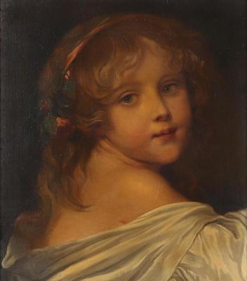 Unknown artist. Mädchen mit Rosen im Haar
