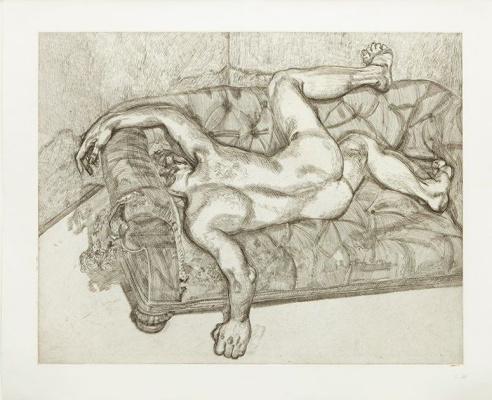 Люсьен Фрейд. Обнажённый мужчина на диване