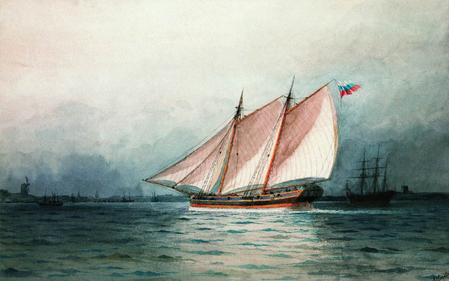 Ivan Aivazovsky. Schooner under sail
