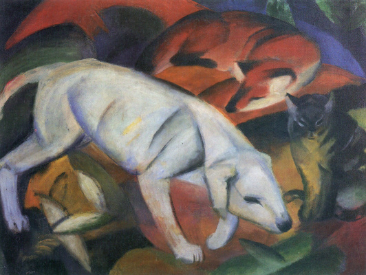 Franz Marc. Dog, Fox and cat