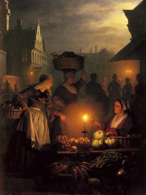 Петрус ван Шендел. Ночной рынок