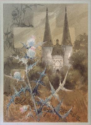 Луи Это. Цветок чертополоха с видом монастыря на заднем плане