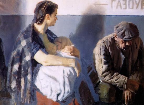 Heliy Mikhailovich Korzhev. In the waiting room
